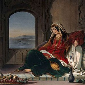Art: Afghan lady reclining