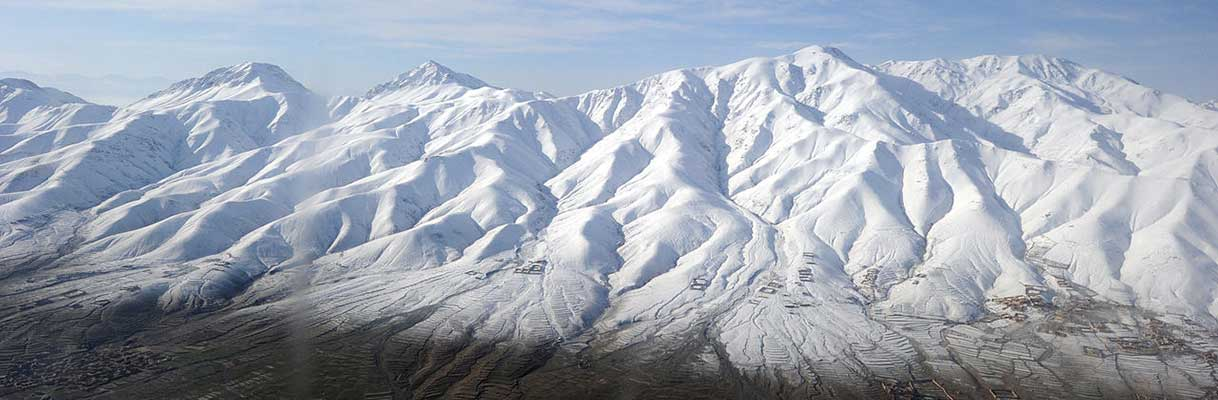 Snow covered mountains in Ghazni province, Afghanistan